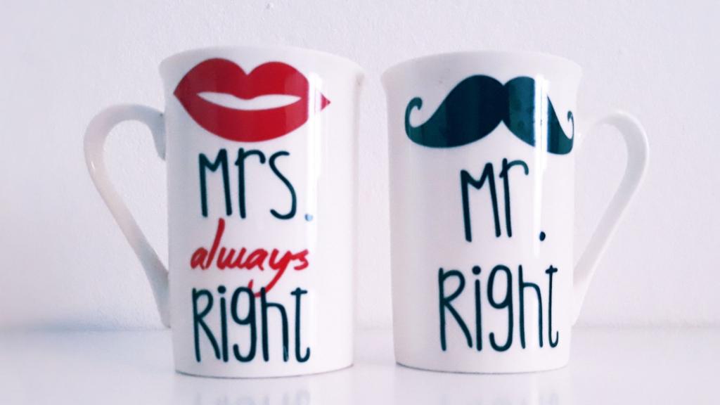 Tazas Mrs. Right y Mr. Right
